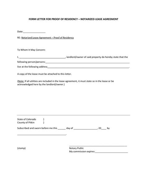 notarized letter proof  residency income templates