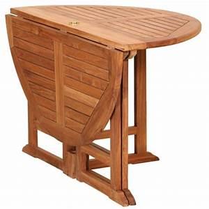 Table Ronde En Teck : table de jardin ronde pliante en teck huil 120x75cm ~ Teatrodelosmanantiales.com Idées de Décoration