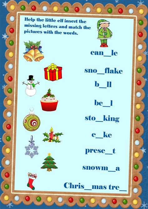 15 Best Images About English Learning Winter Worksheets And Flashcards On Pinterest Christmas