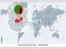 World Map Magnified Lithuania Lithuania Flag Stock