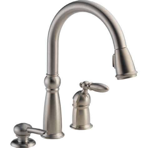 kitchen faucet delta shop delta stainless 1 handle pull kitchen
