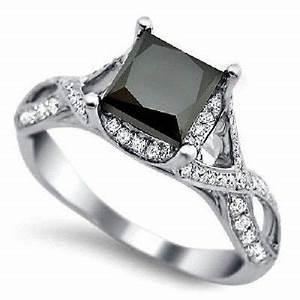 Black Diamond Ring: Solitaire Princess Cut Black Diamond Ring