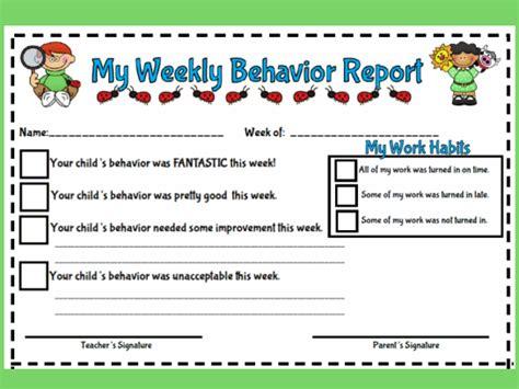 weekly behavior report style  printable worksheet