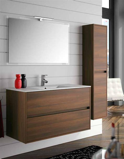 ensemble meuble salle de bain 100 cm noja 1000 2 tiroirs miroir