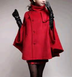 Red Wool Cape Coats for Women