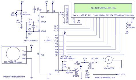 interfacing pir sensor   diy intruder alarm circuit