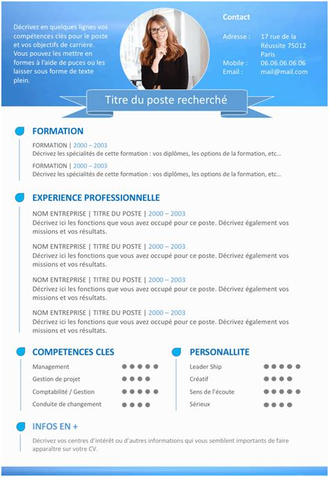 Cv 2016 Gratuit by Mise En Page Cv Open Office Classique Exemple De Cv 2016