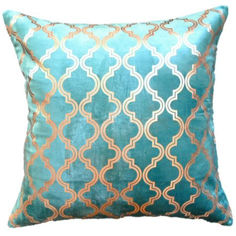 teal and pillows teal gold foil chenille pillow