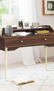 Costway 45 in. Rectangular walnut 1 Drawer Writing Desk ...