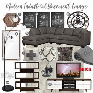 Tv Board Industrial Design : mood board modern industrial basement lounge the diy mommy ~ Michelbontemps.com Haus und Dekorationen