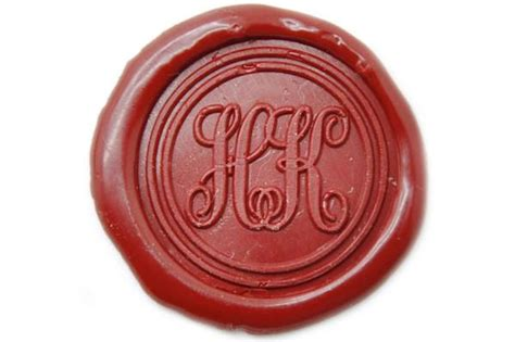 personalized double initials monogram wax seal stamp
