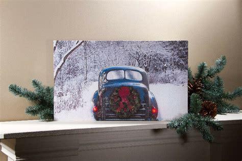 Flickering Light Canvas by Vintage Car W Wreath Flickering Lights Radiance