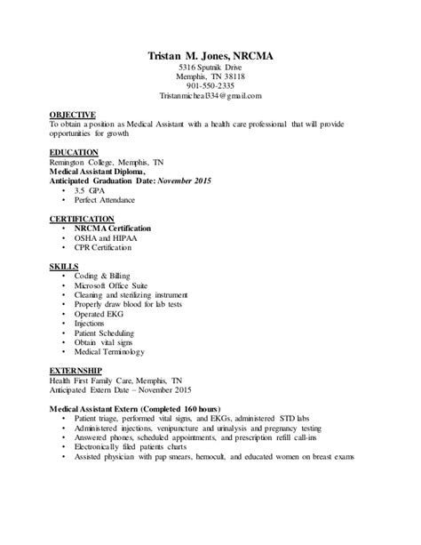 clinical assistant externship resume t jones ma assistant resume
