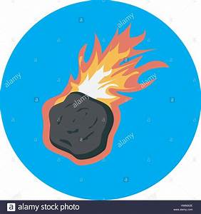 asteroid falling vector with burning flame on blue ...