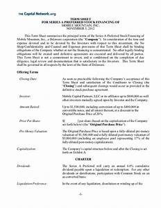 term sheet 11 14 With venture capital term sheet template