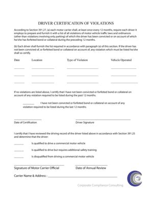 Fillable Online Annual Drivers Record of Violations
