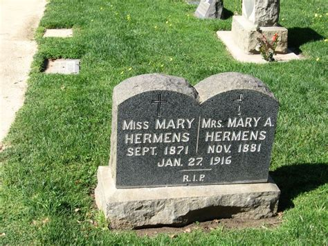 Gravestone For Miss Mary Hermens And Mrs. Mary A. Hermens