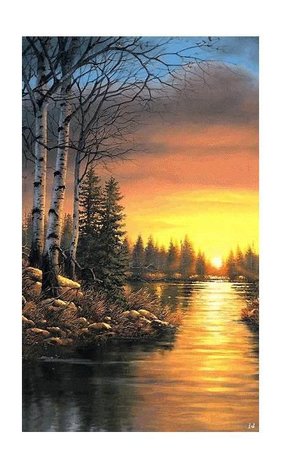 Gifs Landscape Nature Sunset Paintings Ross Paisaje
