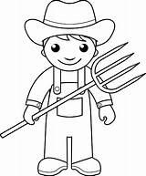 Farmer Coloring Coloriage Enfants Vector Agriculteur Vectoriel sketch template