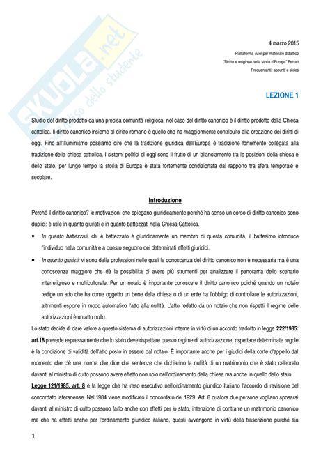 dispensa diritto canonico varie lezioni appunti di diritto canonico