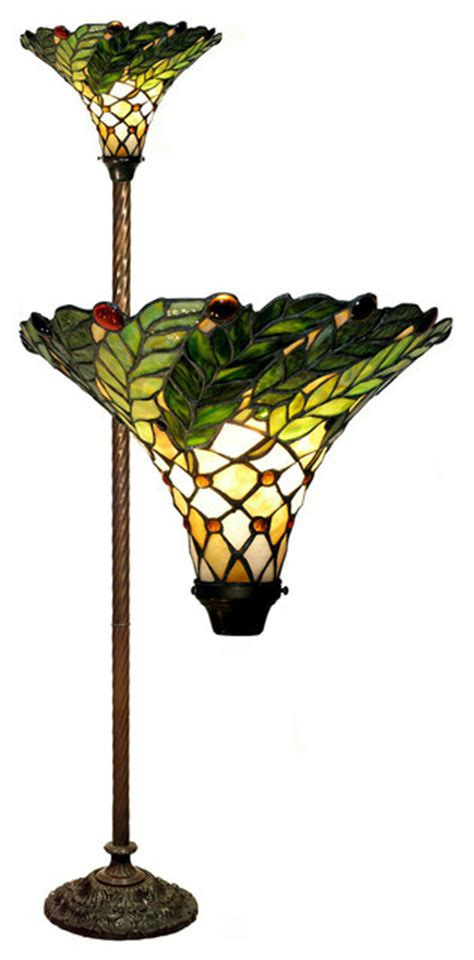 tiffany style green leaf torchiere lamp traditional