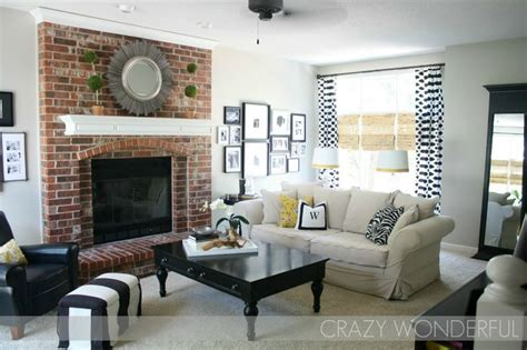 paint colors living room brick fireplace greige paint whites and real brick fireplace