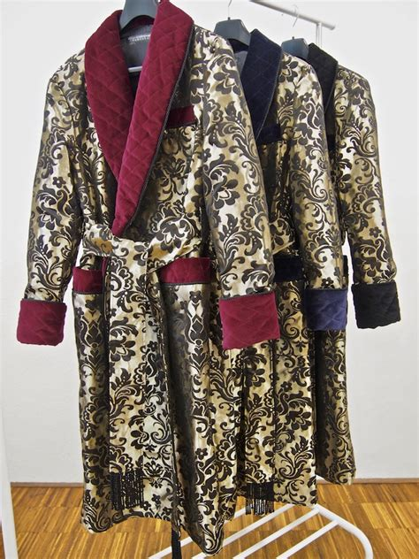 mens luxury silk brocade dressing gown  gold  burgundy baturina