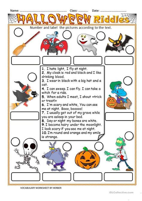 halloween riddles ws worksheet  esl printable