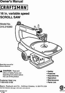 Craftsman 16 In Variablespeed 315 21636 Users Manual