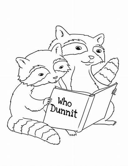 Coloring Raccoon Reading Netart