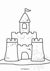 Summer Sand Coloring Castle Sandcastle sketch template
