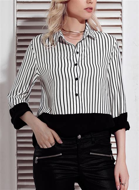 Black Womens Striped Long Sleeve Turn Down Collar Button