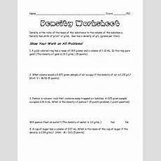 Density Worksheet Mrsyeomanssciencepage