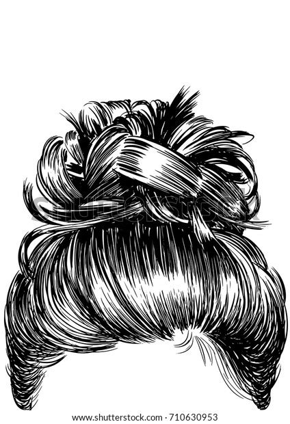 Commercial license is always included! Messy Bun Hairstyles Stock Vector (Royalty Free) 710630953