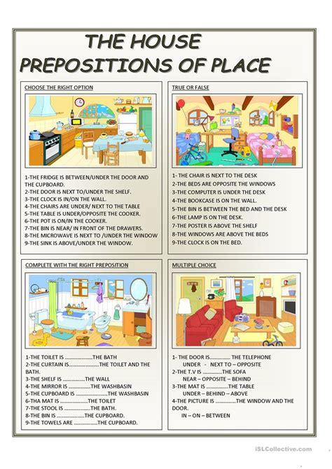 the house prepositions of place worksheet free esl