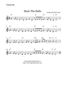 Deck the Halls On the Clarinet Sheet Music