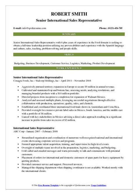 international sales representative resume samples qwikresume