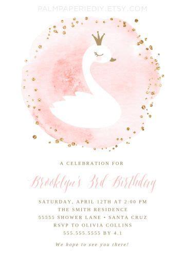 swan birthday invitation girl swan princess instant