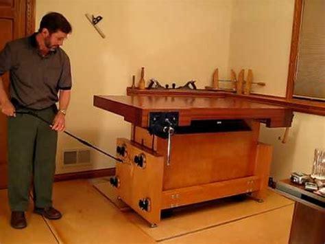 mobile base built  adjustable height workbench youtube