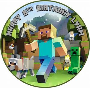 Edible Minecraft Cake Topper - wafer paper - 19cm round ...