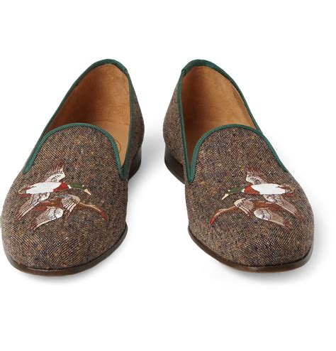 lyst stubbs wootton embroidered tweed slippers