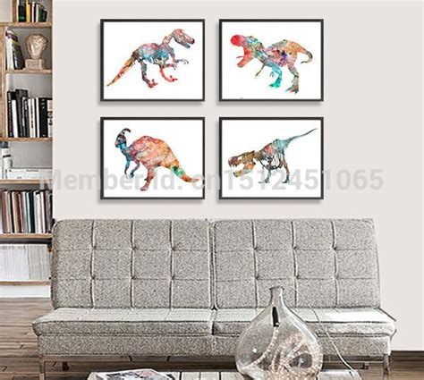 New Modern Abstract Dinosaur Watercolor Painting Print On
