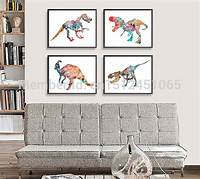 art for kids rooms New modern Abstract Dinosaur watercolor Painting print on ...