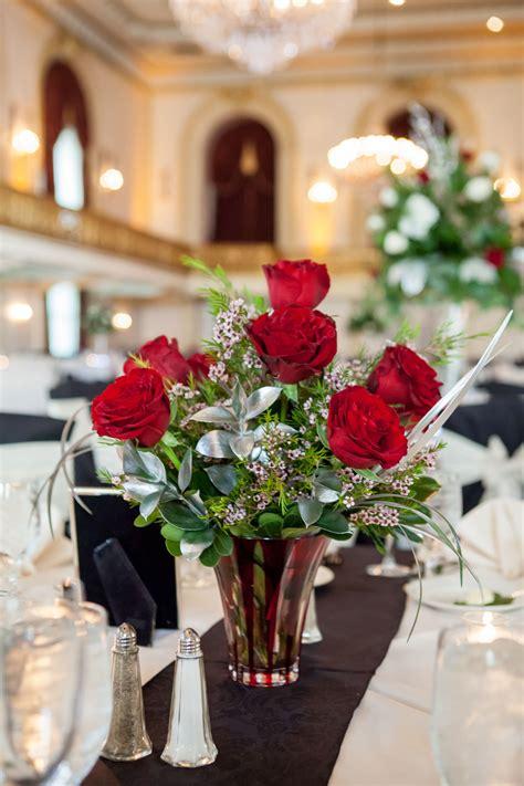 wax flower  red rose centerpiece
