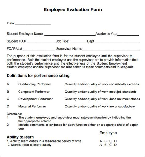 sample employee evaluations employee evaluation form 41 download free documents in pdf