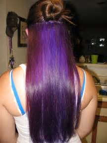 Long Brown Hair with Purple Underneath