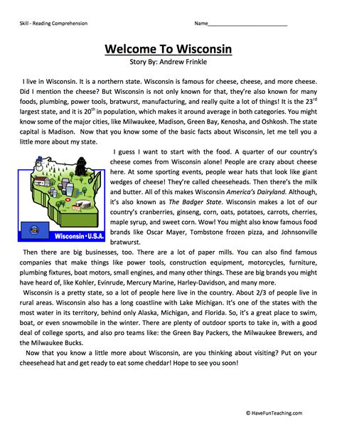 reading comprehension worksheets goodsnyc
