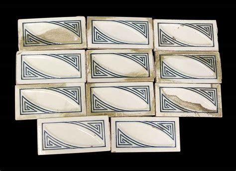 art deco white blue border tile set olde good