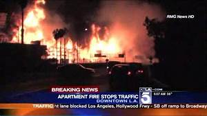 Downtown LA fire causes cars on 110 freeway to make u ...