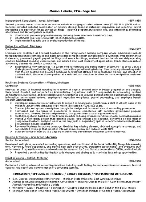 cpa credential on resume cpa resume exle
